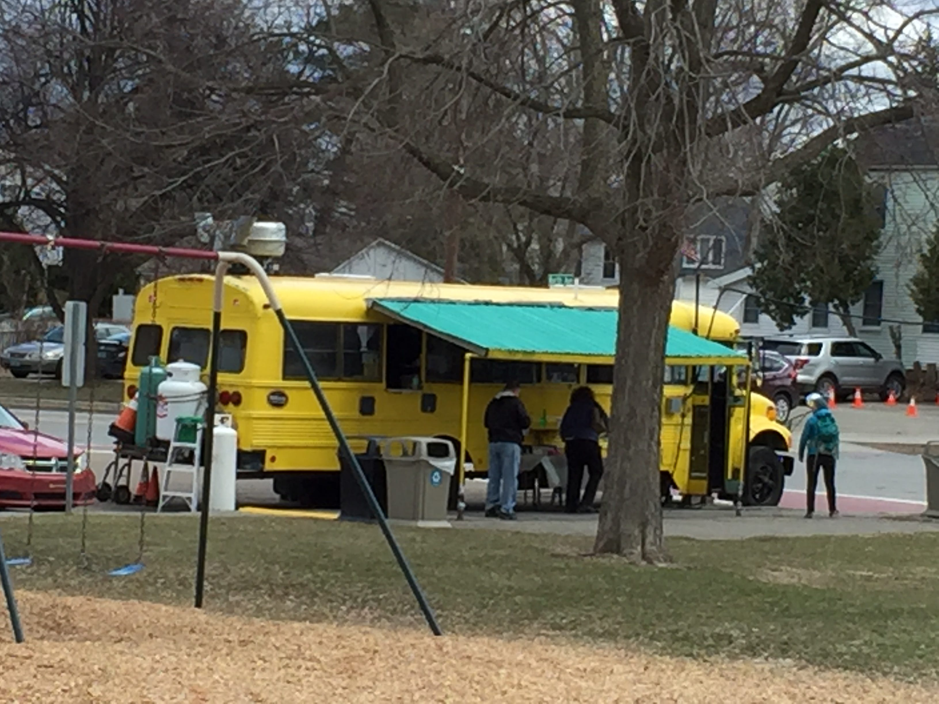 Beansie's Bus returned April 16, 2019 to its regular spot at the northern edge of Battery Park near the Burlington Police Department.