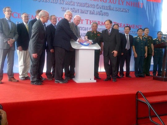 Se. Patrick Leahy, D-Vt., center in gray suit, takes part in the inaugural ceremony in 2014 for the first of the Leahy-led Agent Orange (dioxin) remediation projects in Vietnam.  Rep. Peter Welch is third from left.