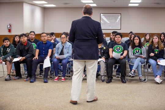 John Marez, Nueces County Commissioner Precinct 3, talks with students from Haas Middle School at the Nueces County Courthouse on Tuesday, April 16, 2019. The Junior National Honor Society students participated in a mock commissioners court meeting that included discussion on what to do with the old courthouse.