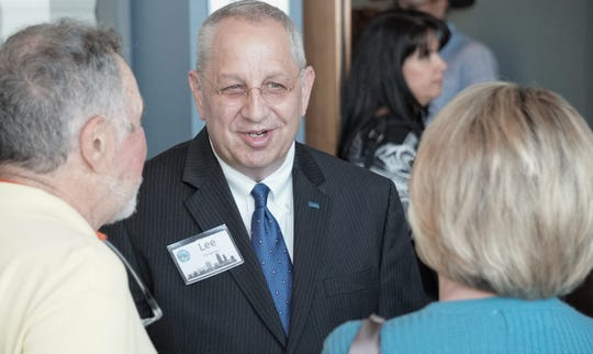 Lee Feldman — a finalist for the Corpus Christi city manager position — meets with attendees during an April 15 meet-and-greet event at the American Bank Center.