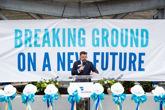 Port of Corpus Christi CEO Sean Strawbridge speaks at the  ground breaking for the new port administration building on Tuesday, April 16, 2019.
