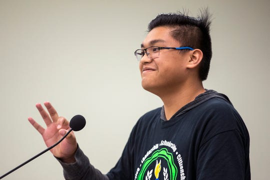 Haas Middle School student Merick Leal, 14, speaks during the public comment portion of a mock commissioners court meeting at the Nueces County Courthouse on Tuesday, April 16, 2019.