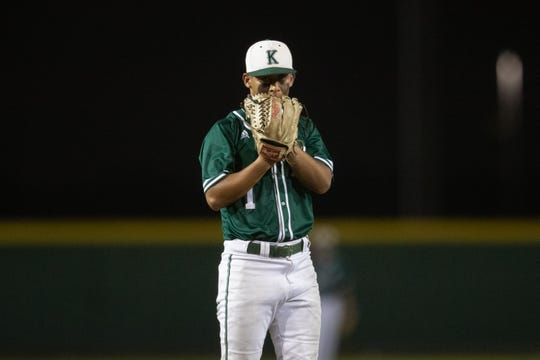 King's Jon Barrera waits to a pitch during the second inning of their game against Veterans Memorial on Monday, April 15, 2019.