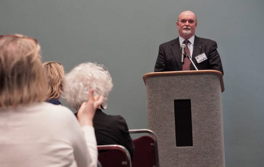 Keith Selman — a finalist for the Corpus Christi city manager position — fields a question from the audience during an April 15 meet-and-greet event at the American Bank Center.