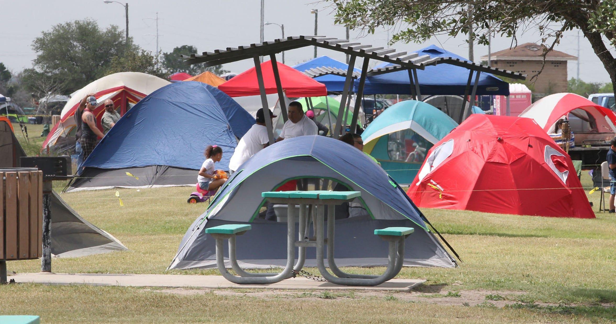 Tents dot the landscape at Labonte Park on April 19, 2014.