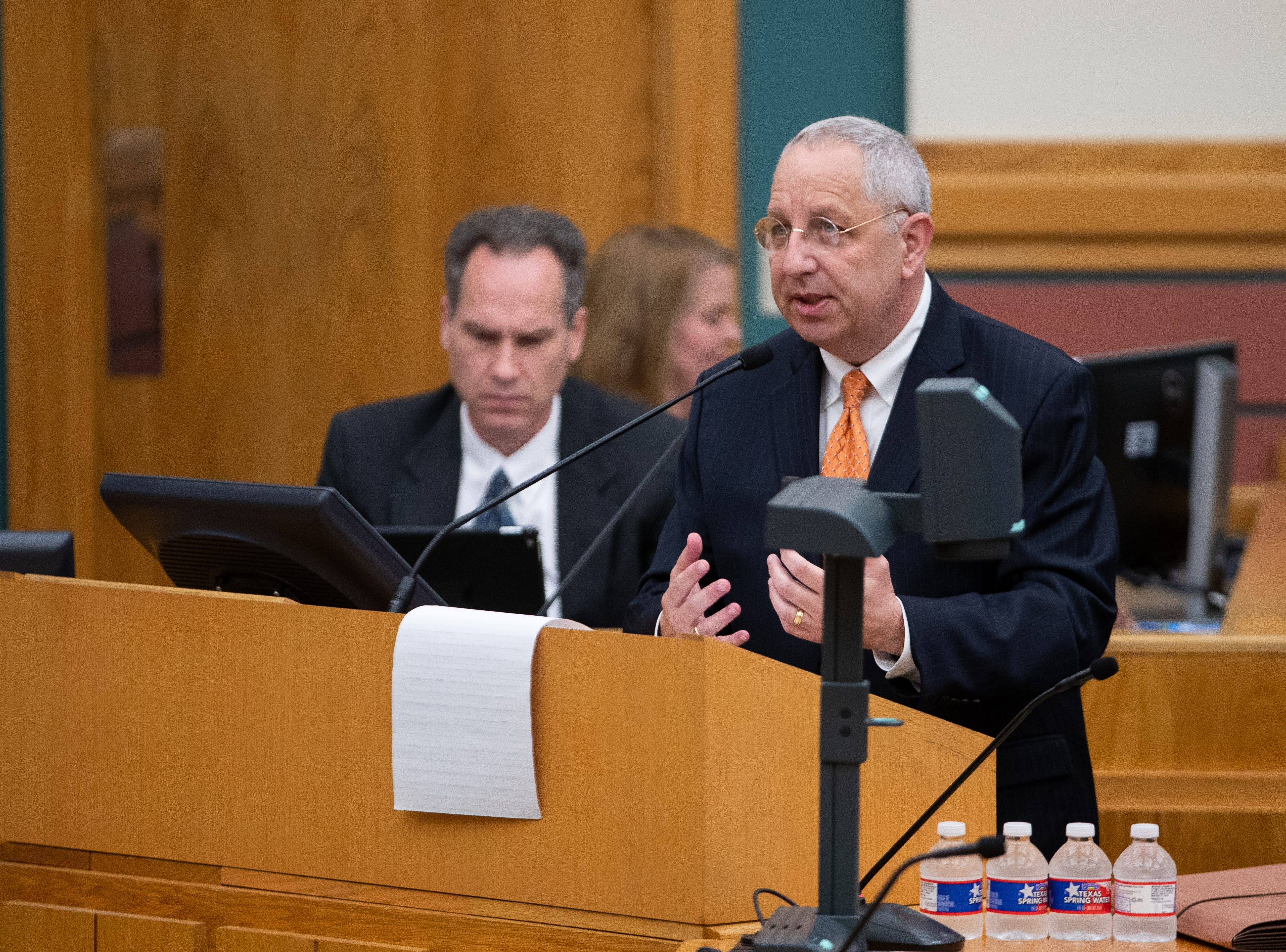 Lee Feldman is one of four finalists for Corpus Christi's city manager position answers questions from the City Council at the start of their meeting on Tuesday, April 16, 2019.