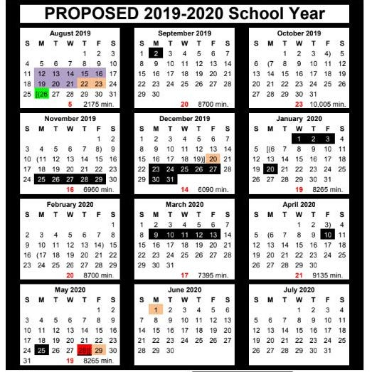 Corpus Christi ISD 2019-2020 calendar includes 24 days off, 174 instruction days