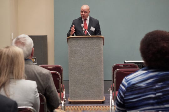 Harry Black — a finalist for the Corpus Christi city manager position — addresses attendees during an April 15 meet-and-greet event at the American Bank Center.