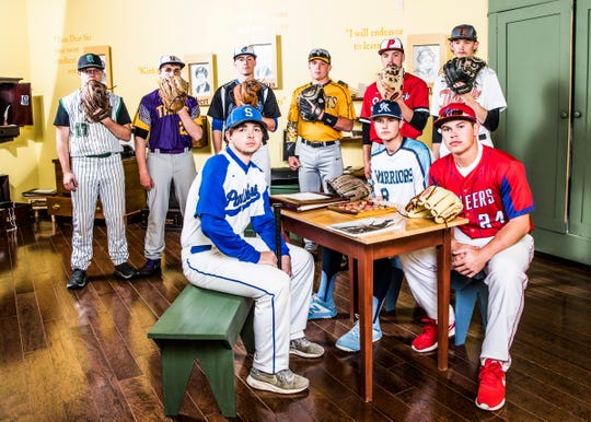 Area baseball teams look to make history as the first half of the season rounds the corner. (Back L-R) Huntington's Devon Carroll, Unioto's Corbin Trainer, Chillicothe's Zach Coats, Paint Valley's Macky McDonald, Piketon's Kannon Pike, and Waverly's Reid Chapman. (Front L-R) Southeastern's Chris Spetnagel, Adena's Ethan Kunkel, and Zane Trace's Chad Ison. Photo taken inside the children's room at the Adena Mansion and Garden's Historical Site museum.