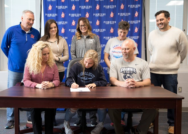 Zane Trace senior Maddie Rann signed to play volleyball at Shawnee State University Monday afternoon.