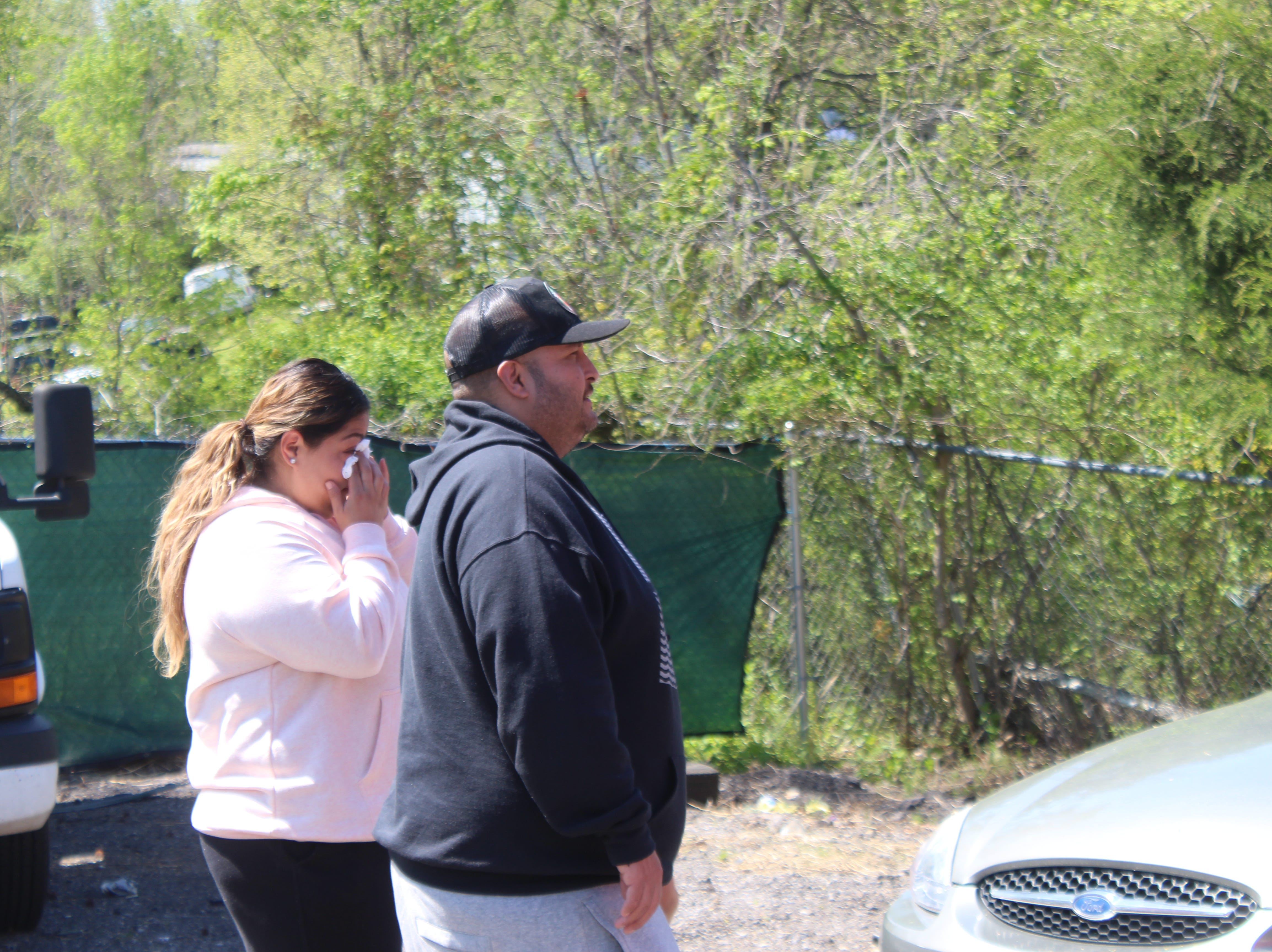 Adrian and Diana Gonzalez get their first look at their Fatboy Tacos trailer, which was destroyed in a wreck in Clarksville on Saturday, April 13, 2019.
