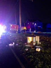 The Fatboy Tacos trailer overturned after a wreck on Needmore Road in Clarksville on Saturday, April 13, 2019. The cold bar was tossed out on the side of the road.