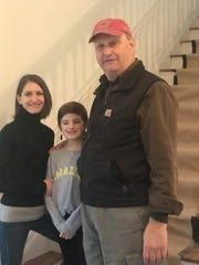 Aubrey Eline, her daughter Grace, and her father, builder Dan Reichard inside the home at 950 Hillside Ave., Plainfield that he renovated for a house tour.