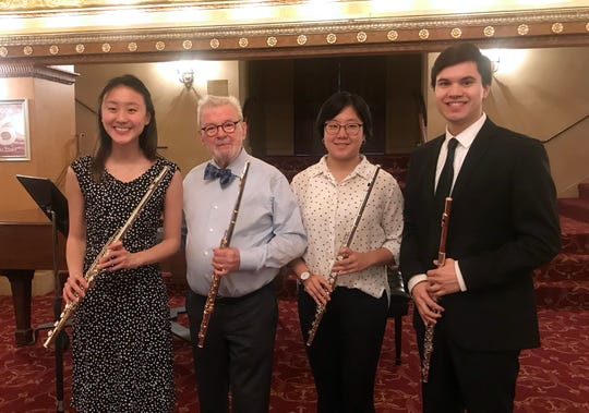 (Left to right)Clara Ma, Sir James Galway, Hannah Lee, and Hunter Green.