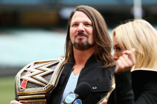 WWE's world champion AJ Styles speaks at the Melbourne (Australia) Cricket Ground on June 24, 2018.