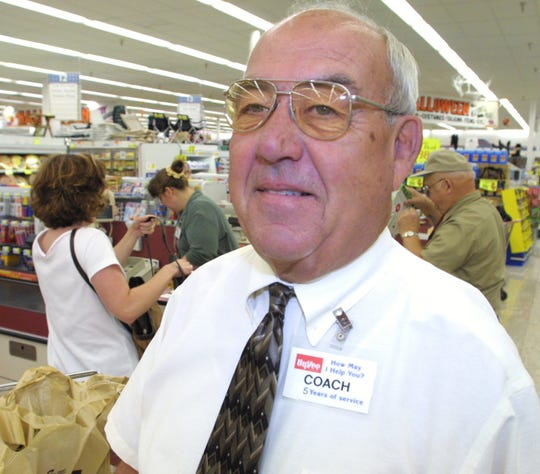 """Valley High School golf coach Bill Coldiron in 2001. Coldiron retired from teaching in 1995 and worked part time for Hy-Vee where his nametag read """"Coach."""""""