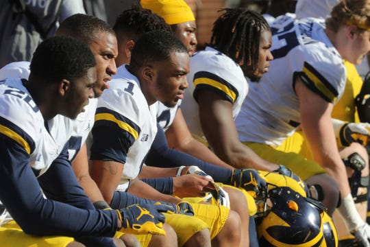 Michigan defensive back Ambry Thomas (1) on the bench during the spring game Saturday, April 13, 2019 at Michigan Stadium in Ann Arbor.