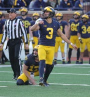 Michigan kicker Quinn Nordin kicks a field goal during the spring game Saturday, April 13, 2019 at Michigan Stadium in Ann Arbor.