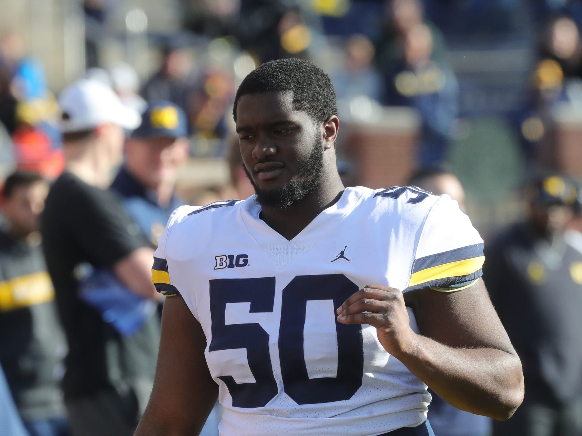 Michigan defensive lineman Michael Dwumfour on the sideline during the spring game Saturday, April 13, 2019 at Michigan Stadium in Ann Arbor.