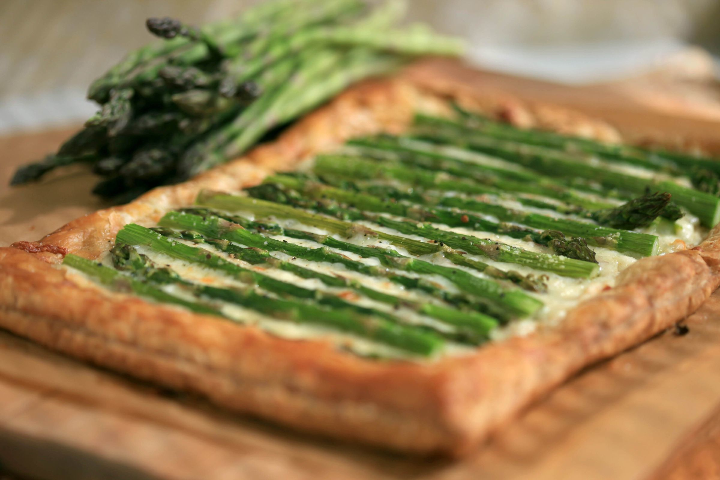 Easter Brunch food. Asparagus Fontina Tart.