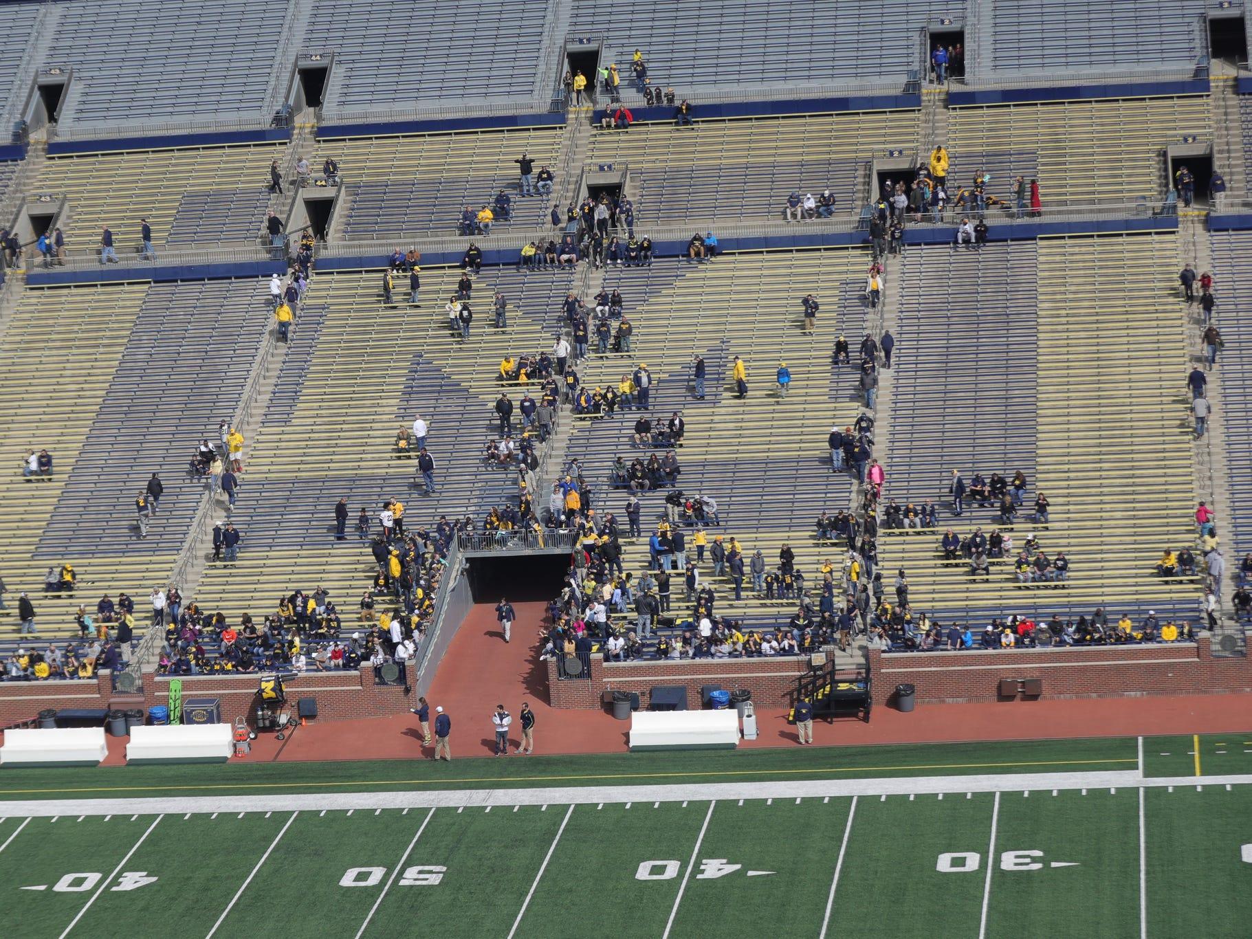 Michigan fans arrive for the spring game Saturday, April 13, 2019 at Michigan Stadium in Ann Arbor.
