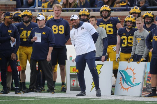 Michigan offensive coordinator Josh Gattis during the spring game Saturday, April 13, 2019 at Michigan Stadium in Ann Arbor.