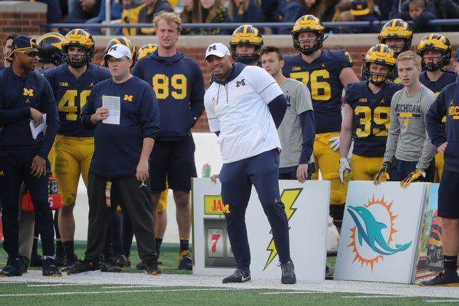 Michigan offensive coordinator Josh Gattis during the spring game Saturday, April 13, 2019 at Michigan Stadium in Ann Arbor.