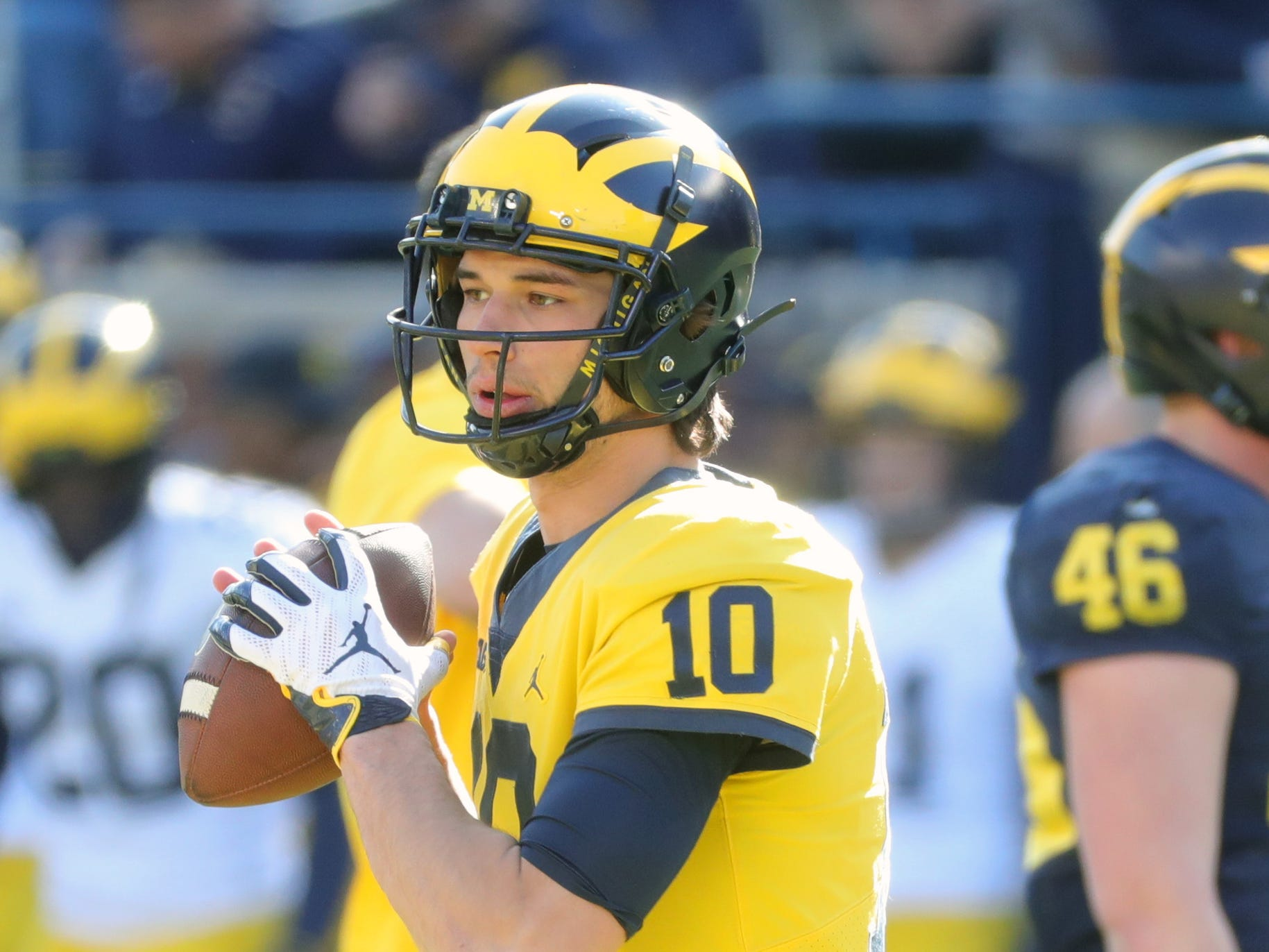 Michigan quarterback Dylan McCaffrey passes during the spring game Saturday, April 13, 2019 at Michigan Stadium in Ann Arbor.