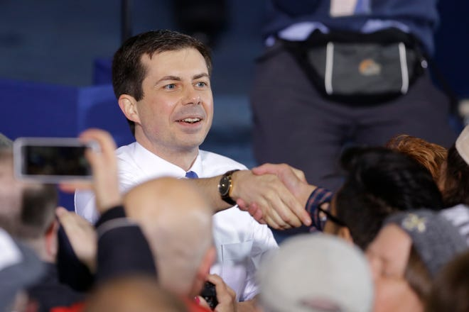 A 21-year-old student at Ferris State University in Big Rapids said accusations made in his name against Pete Buttigieg, seen here campaigning on April 14, are false and he did not authorize them.