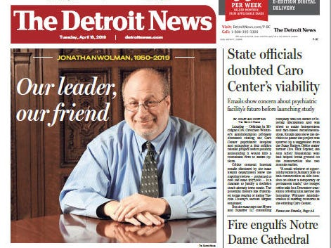 The front page of the Detroit News on April 16, 2019.