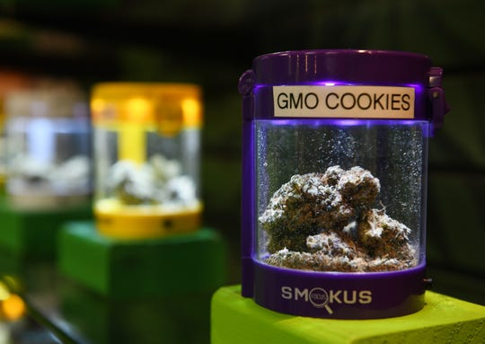GMO Cookies flowers by Midwest Organics at The Curing Corner in River Rouge, Mich. on April 15, 2019. Nearly all of the River Rouge outlets' marijuana is from caregivers.