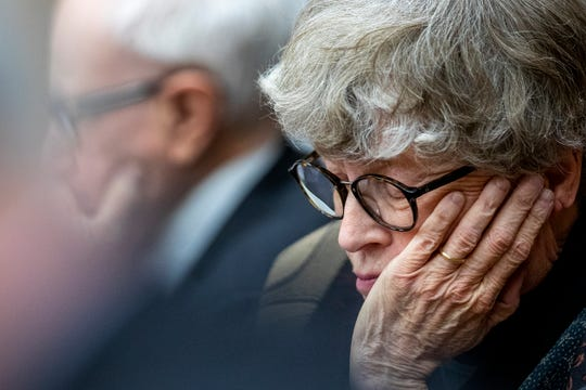 Former Michigan State University President Lou Anna Simon listens during her preliminary hearing Tuesday in Charlotte, Mich. Two MSU employees described Simon, as a detail-oriented leader who stayed abreast of developments through regular meetings with university leadership.