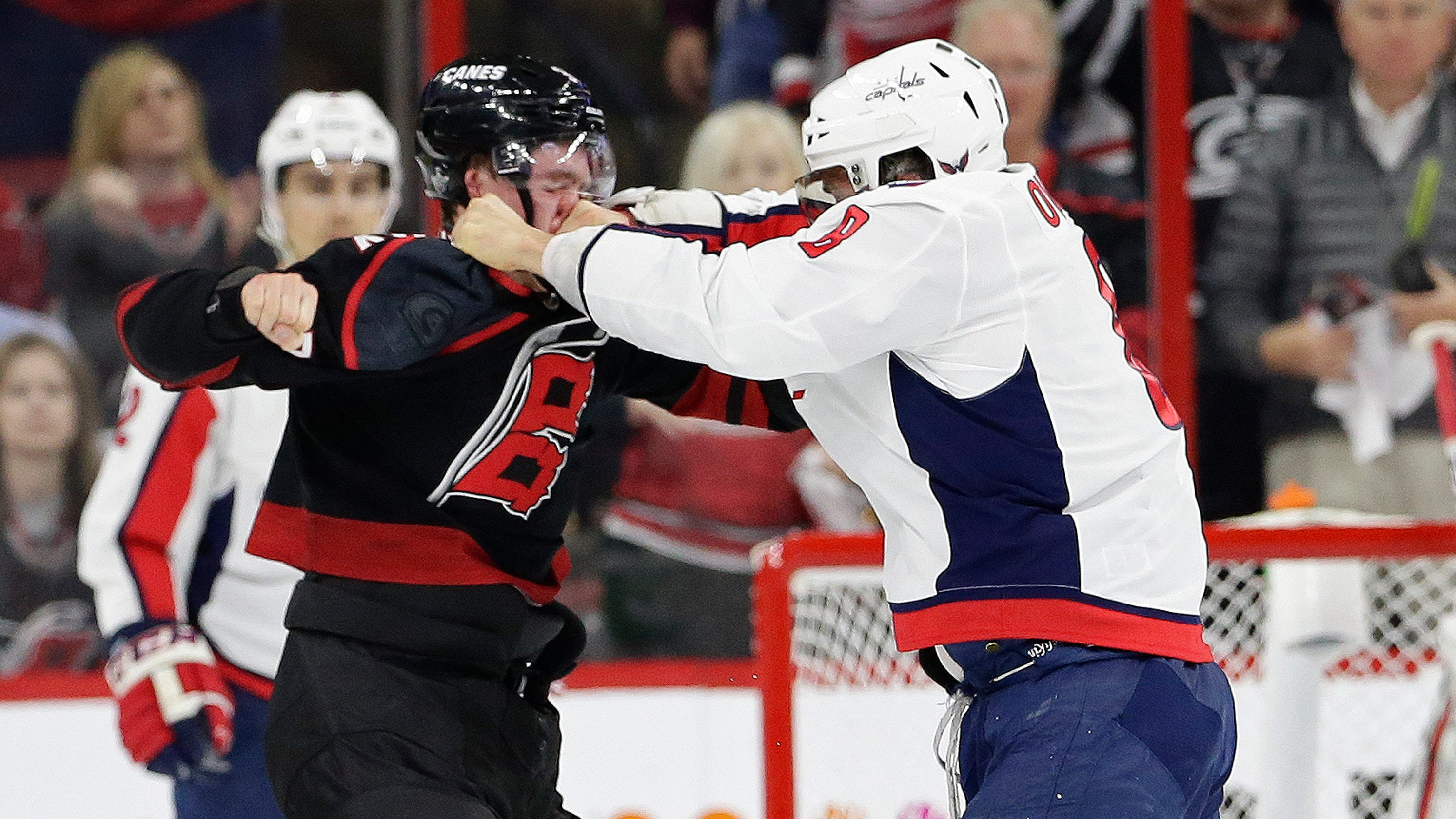 0297b55f2b3 Red Wings  Evgeny Svechnikov threatens Alex Ovechkin after fight