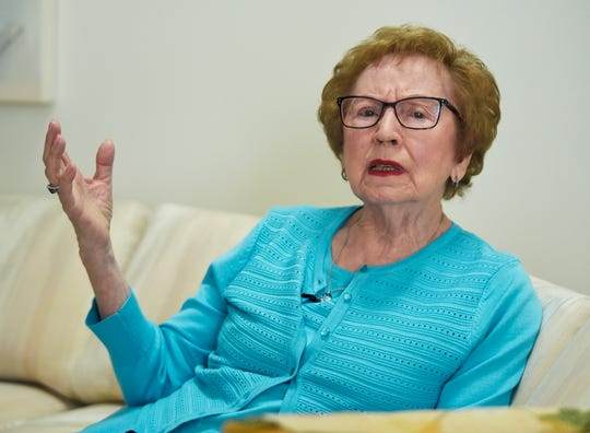Holocaust survivor Sophie Tajch Klisman, 89, of Commerce Township, becomes emotional as she talks about life in Nazi concentration camps during World War II. In May, she will visit a concentration camp and Israel as part of a program to promote support of the armed forces of Israel.