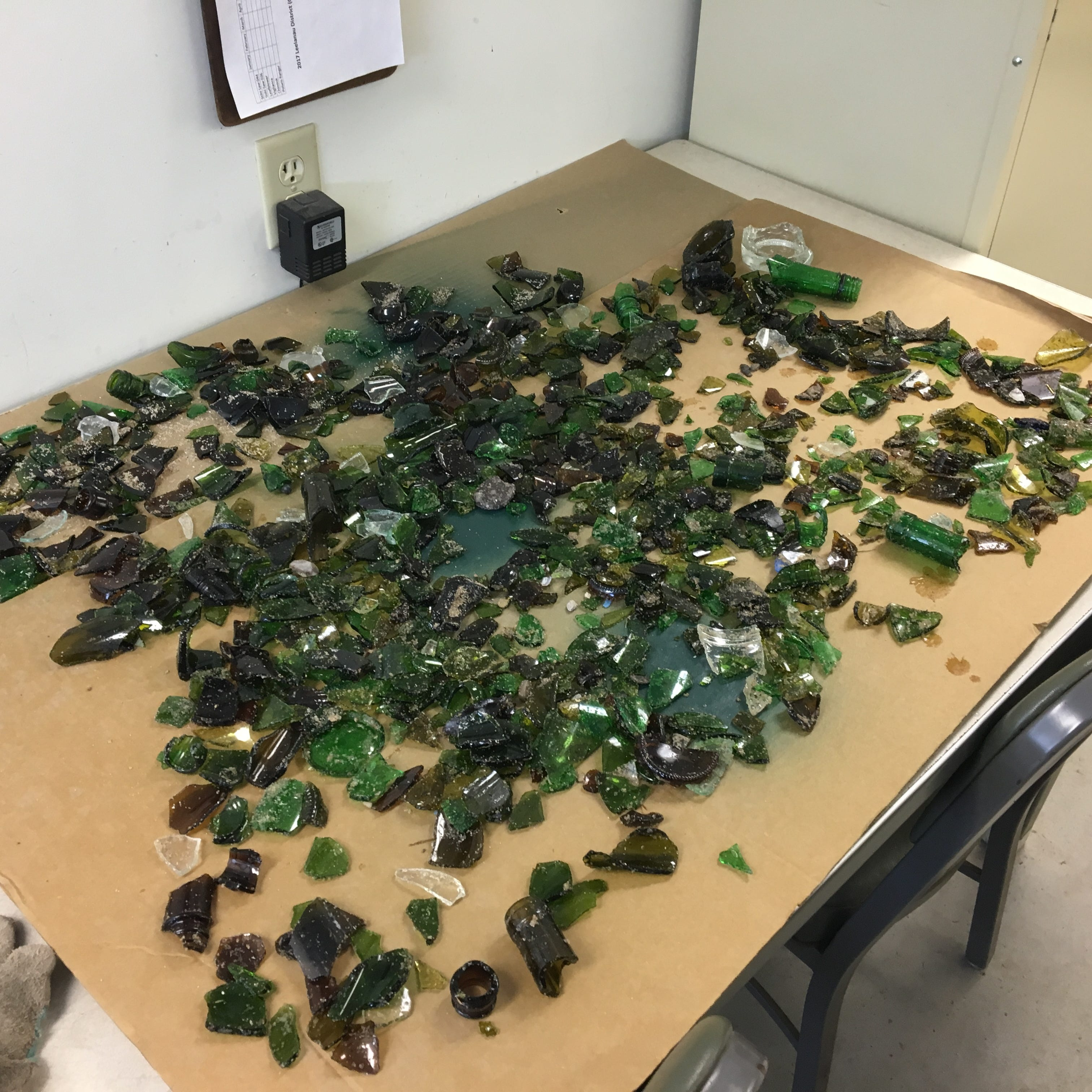 Thousands of glass shards strewn at Sleeping Bear Dunes