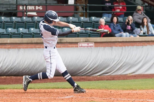 Colin Long takes a swing during a game at Bosse Field. The Reitz junior had Tommy John surgery in the fall.