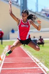Class 3A-District 11 track and field championships at Charlotte High School in Punta Gorda, Tuesday, April 16, 2019. Samantha Flecha, North Fort Myers, competed in the triple jump.