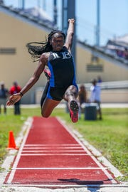 Class 3A-District 11 track and field championships at Charlotte High School in Punta Gorda, Tuesday, April 16, 2019. Dashnie Dervil, Ida Baker, competed in the triple jump.