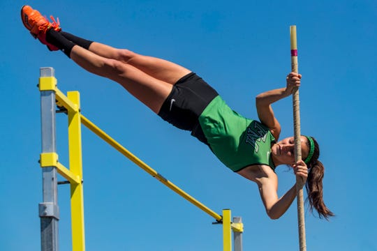 Class 3A-District 11 track and field championships at Charlotte High School in Punta Gorda, Tuesday, April 16, 2019. Fort Myers High senior pole vaulter Alexandra Chlumsky is chasing a state title in her senior year before she heads to Notre Dame next season.
