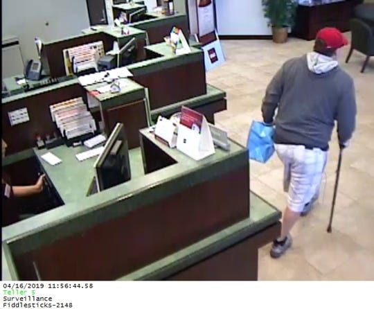 Crimestoppers are looking for a man who robbed the BB&T Bank at 9090 Daniels Parkway wearing a surgical mask and baseball cap.