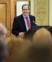 Reelected Brown County Executive Troy Streckenbach gives his inaugural address during a ceremony April 16, 2019 at the Brown County Courthouse.