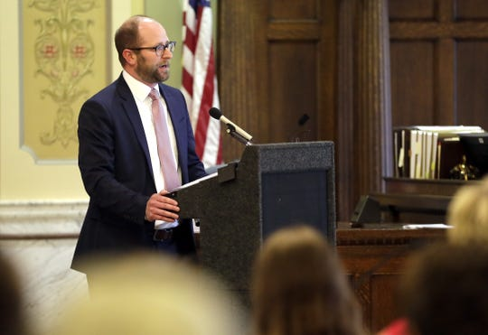 Green Bay Mayor Eric Genrich gives his inaugural address during a ceremony held Tuesday at the Brown County Courthouse in Green Bay.