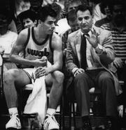 Tony Bennett sits next to his dad, Dick, in 1988.