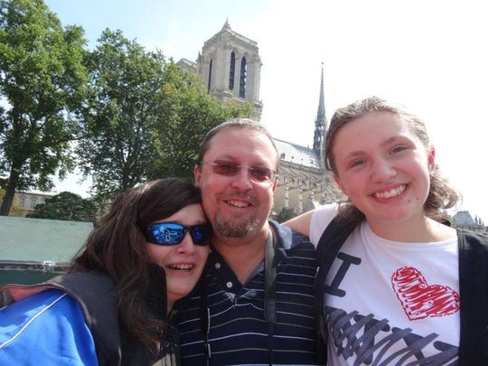 Lucy and Derrick Howle with niece Valentine Simeon at the Notre Dame