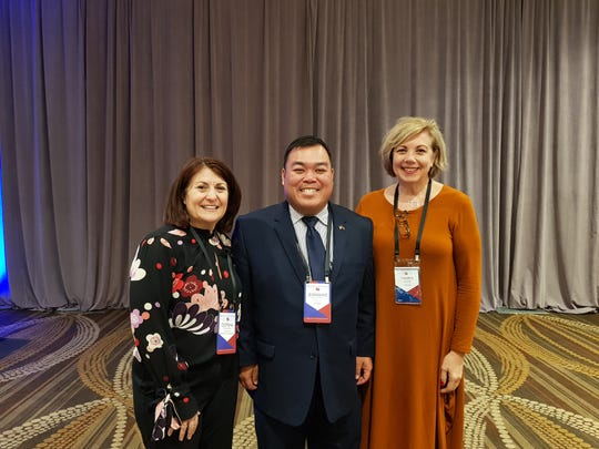 Jermaine Alerta, Executive Director of the Guam Developmental Disabilities Council, attended the 2019 Disability Policy Seminar in Washington, D.C. Pictured: Donna Meltzer (left), CEO of the National Association of Councils on Developmental Disabilities, and Valerie Breen (right), Executive Director of the Florida Developmental Disabilities Council.