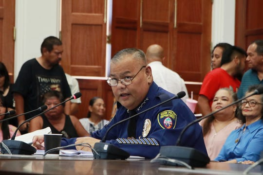 Acting Chief of Police Steve C. Ignacio addresses the Guam Legislature during his confirmation hearing on Tuesday, April 16, 2019 in the Guam Congress Building.