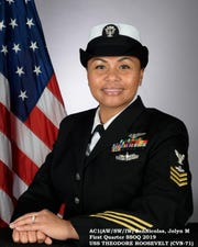 Jolyn Perez San Nicolas, an active duty Air Traffic Controller Petty Officer First Class (AW/SW/IW) with 12 years in service, is stationed on the USS Theodore Roosevelt CVN-71 out of San Diego, CA. In January San Nicolas was selected as her department's Senior Sailor of the 1st Quarter. On February 1, she was then selected as the SSOQ 1st Quarter FY19 for her command, USS Theodore Roosevelt CVN-71. She is the wife of Francis Nauta San Nicolas and the mother of Raven, 16, and Avery Woods, 20, Kaneohe, Hawaii. She is the proud daughter of Ignacio Castro Perez and Josephine Duenas Perez from Sinajana.