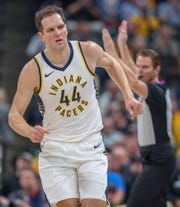Pacers forward Bojan Bogdanovic will be a free agent this summer.