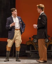 Notre Dame quarterback J.D. Carney (left) plays former Yale football player Tom Buchanan in campus production of 'The Great Gatsby'