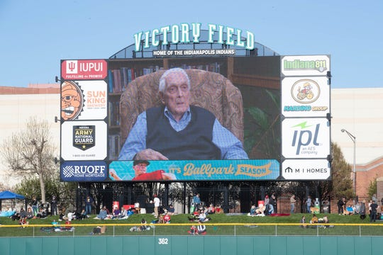 Anderson native an Former Brooklyn Dodgers pitcher, Carl Erskine, age 92, is shown on the big screen as he address the crowd at Victory Field on Jackie Robinson Day, Monday, April 15, 2019. Erskine was a teammate of Robinson's for nine seasons while playing for the Brooklyn Dodgers from 1948-59.